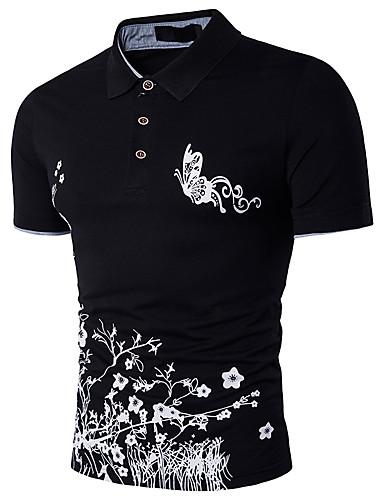 6c638a912 Homens Polo Moda de Rua   Sofisticado Estampado Algodão Colarinho de Camisa    Manga Curta
