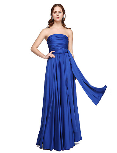 A-Line Floor Length Jersey Bridesmaid Dress with Pleats Criss Cross by LAN TING BRIDE®