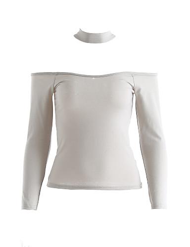 billige Dametopper-Bomull Båthals T-skjorte Dame - Ensfarget Svart / Høst / choker