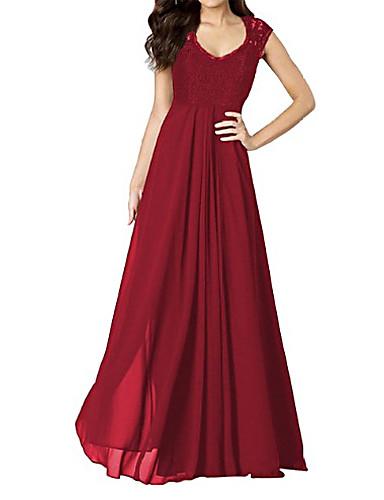 Mulheres Vintage Calças - Sólido Vermelho, Renda / Frente Única / Com Corte Azul / Festa / Longo / Decote U / Franzido / Feriado