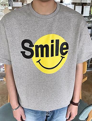 남성 프린트 라운드 넥 짧은 소매 티셔츠,심플 캐쥬얼/데일리 면 얇음