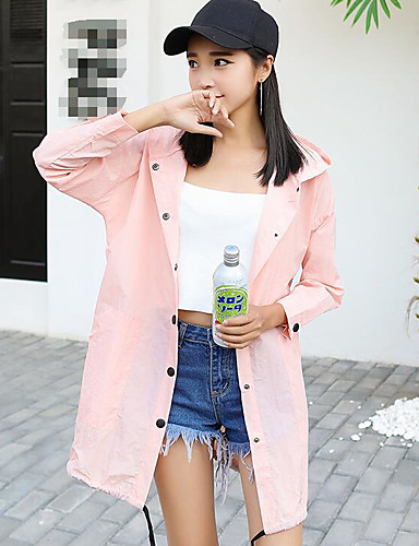 여성 프린트 후디 트렌치 코트,귀여운 액티브 데이트 긴 폴리에스테르 여름 가을