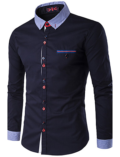 남성 솔리드 스탠딩 카라 긴 소매 셔츠,심플 액티브 캐쥬얼/데일리 작동 폴리에스테르