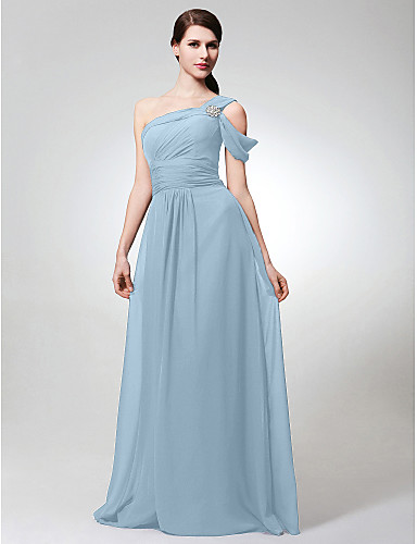 d7ec52713ae A-Line One Shoulder Floor Length Chiffon Bridesmaid Dress with Side Draping    Crystal Brooch   Ruched by LAN TING BRIDE®
