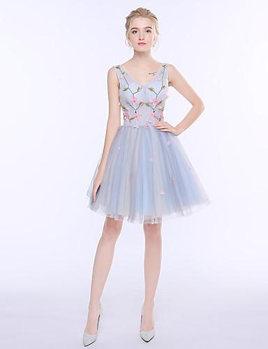 레이스가있는 a 라인 v 넥 짧은 / 미니 얇은 명주 그물코 드레스