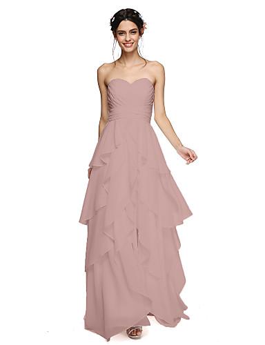 Corte en A Escote Corazón Hasta el Suelo Raso Vestido de Dama de Honor con En Cruz / Fruncido / Borla por LAN TING BRIDE® / Espalda Abierta