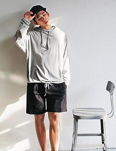 남성 후드 캐쥬얼/데일리 솔리드 라운드 넥 면 strenchy 긴 소매 스프링