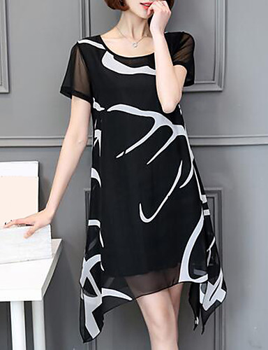 cheap Women's Dresses-Plus Size Daily Weekend Chiffon Dress - Graphic White, Print Summer White Black XXXL XXXXL XXXXXL