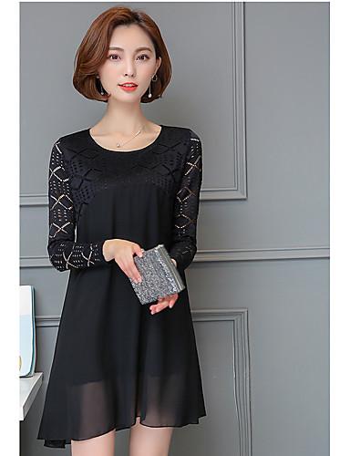여성 솔리드 라운드 넥 긴 소매 티셔츠,심플 캐쥬얼/데일리 그외