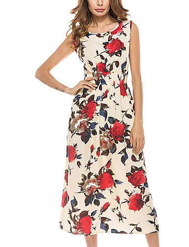 여성용 비치 루즈핏 드레스 - 플로럴