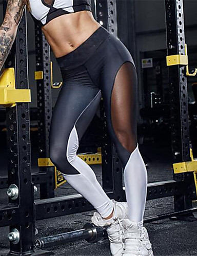 Mulheres Esportivo Com Rasgos Legging - Retalhos Cintura Média