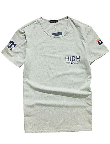 남성 애니멀 프린트 라운드 넥 짧은 소매 티셔츠,심플 캐쥬얼/데일리 면 여름 얇음