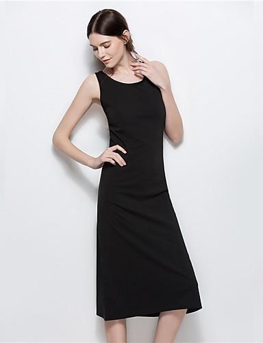 여성 A 라인 리틀블랙 드레스 일상 데이트 빈티지 캐쥬얼 솔리드,라운드 넥 미디 미니 민소매 면 폴리에스테르 여름 높은 밑위 약간의 신축성 얇음