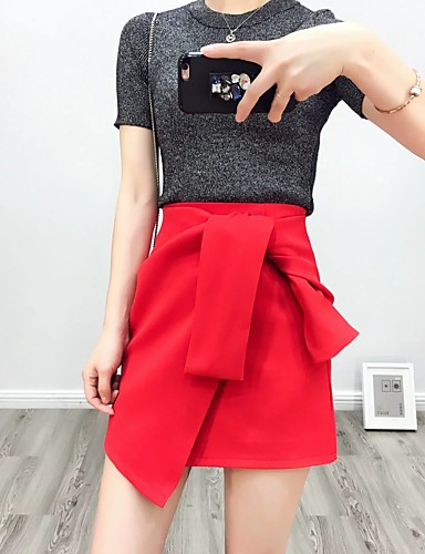 Women's Daily Going out Above Knee Skirts, Cute Street chic A Line Bodycon Cotton chambray Solid Spring Summer Fall