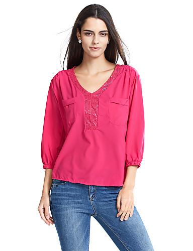 女性用 スパンコール Tシャツ Vネック パッチワーク ポリエステル
