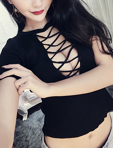 여성 솔리드 라운드 넥 짧은 소매 티셔츠,심플 캐쥬얼/데일리 면 봄 여름 얇음