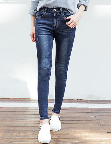 Dámské Jednoduchý Šik ven Mikro elastické Džíny Kalhoty Štíhlý Vypasovaný High Rise Jednobarevné