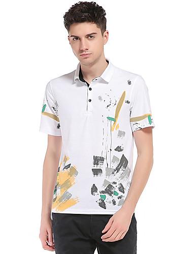 Homens Polo Estampado, Estampa Colorida Algodão Colarinho de Camisa