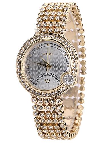للمرأة ساعة المعصم كوارتز إبداعي كوول أشابة فرقة مماثل كاجوال موضة ذهبي - ذهبي
