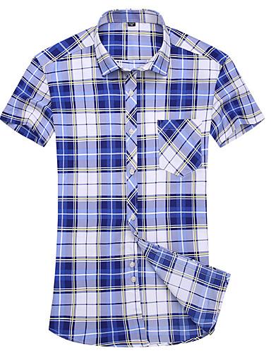 Pánské Pléd Jdeme ven Běžné/Denní Velké velikosti Jednoduché Košile-Léto Polyester Hranatý Krátký rukáv Střední