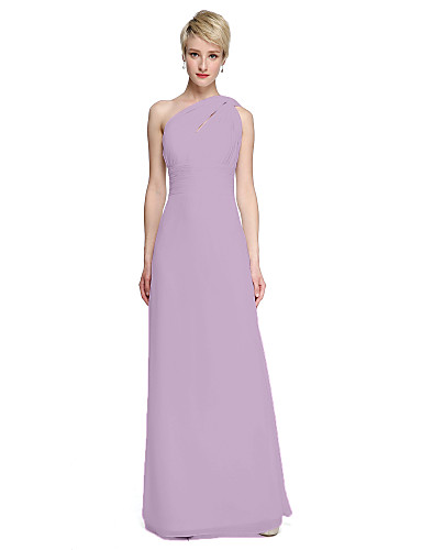 b15d045ad76 Sheath   Column One Shoulder Floor Length Chiffon Bridesmaid Dress with  Sash   Ribbon   Side Draping   Ruched by LAN TING BRIDE®