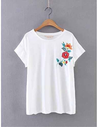 여성 플로럴 자수장식 라운드 넥 짧은 소매 티셔츠,단순한 섹시 스트리트 쉬크 데이트 캐쥬얼/데일리 면 여름 얇음 중간