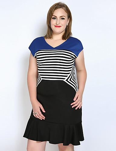 Mulheres Tamanhos Grandes Vintage / Moda de Rua Algodão Evasê / Bainha / Camiseta Vestido - Frufru, Listrado / Estampa Colorida Decote V Acima do Joelho