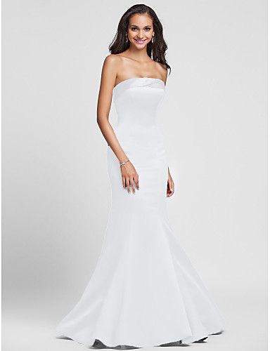 billige Lange brudepikekjoler-Havfrue Stroppeløs Gulvlang Sateng Brudepikekjole med Sidedrapering av LAN TING BRIDE®