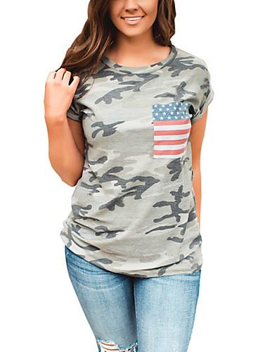 여성 프린트 위장 라운드 넥 짧은 소매 티셔츠,섹시 스트리트 쉬크 일상 데이트 홀리데이 폴리에스테르 봄 여름 중간
