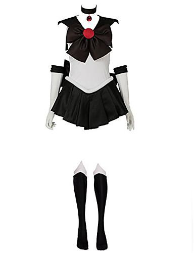 voordelige Cosplay & Kostuums-geinspireerd door Sailor Moon Sailor Pluto Anime Cosplaykostuums Cosplay Kostuums Patchwork Mouwloos Kleding / Handschoenen / Boog Voor Dames / Satiini