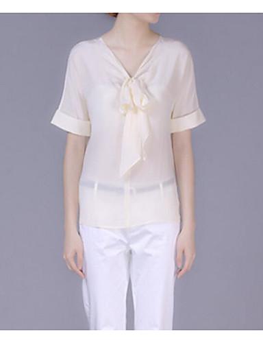 여성용 솔리드 V 넥 셔츠, 단순한