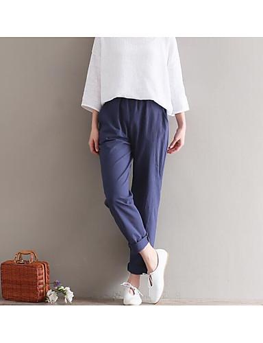 Damen Einfach Mittlere Hüfthöhe Mikro-elastisch Chinos Lose Hose,Reine Farbe Solide