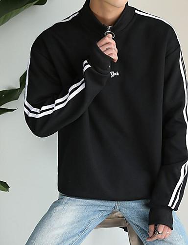 남성 맨투맨 스웻티셔츠 캐쥬얼/데일리 솔리드 라운드 넥 면 약간의 신축성 긴 소매 스프링