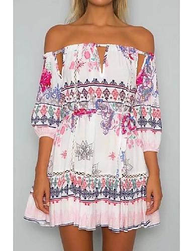 여성 루즈핏 시프트 드레스 데이트 캐쥬얼/데일리 단순한 스트리트 쉬크 프린트,보트넥 무릎 위 짧은 소매 실크 면 여름 가을 중간 밑위 약간의 신축성 중간