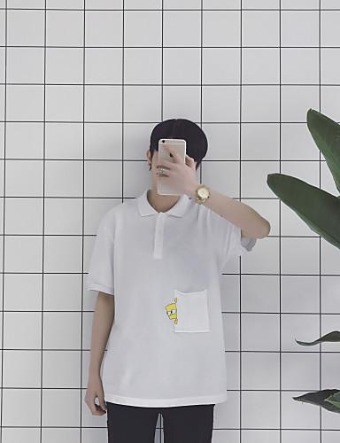 남성 솔리드 프린트 셔츠 카라 짧은 소매 티셔츠,심플 캐쥬얼/데일리 면 봄 여름 얇음