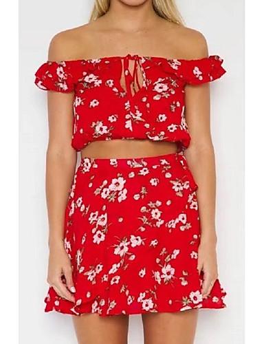 여성 플로럴 긴 소매 티셔츠 나와 정장,스트리트 쉬크 데이트 캐쥬얼/데일리 면 브레이 여름 가을 약간의 신축성