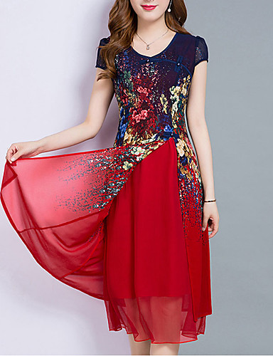 ddb480d52144 Women's Plus Size Going out Chiffon Dress - Floral Layered Print Summer Red  Royal Blue XXXL XXXXL XXXXXL