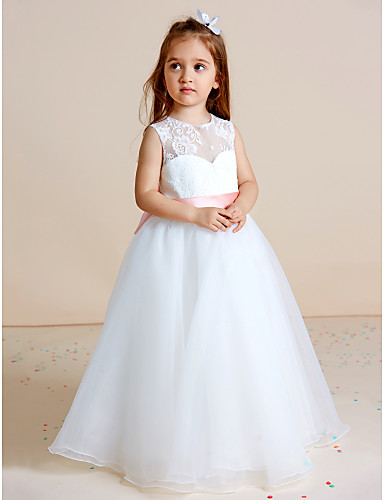 657f9d09b Ball Gown Floor Length Flower Girl Dress - Lace / Organza Sleeveless Jewel  Neck with Bow(s) / Sash / Ribbon by LAN TING BRIDE® / See Through