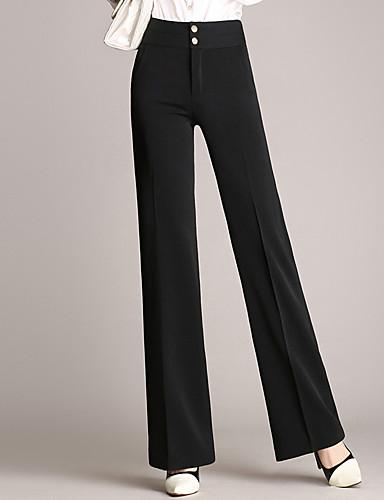 abordables Pantalons Femme-Femme Grandes Tailles Travail Mince / Chino Pantalon - Couleur Pleine Couleur unie Noir Vin Bleu Marine S M L