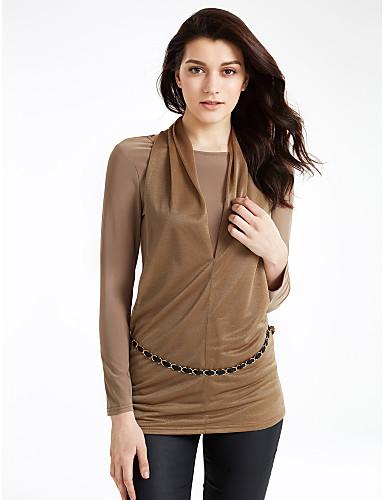 Жен. На каждый день Большие размеры Осень Блуза Простой Пэчворк Длинный рукав Средняя