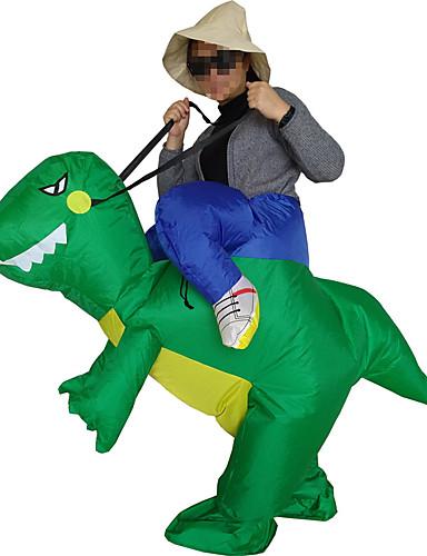 billige Voksenkostymer-Riding A Dinosaur Cosplay Kostumer Halloween Utstyr Maskerade Herre Dame Film-Cosplay Grønn Trikot / Heldraktskostymer Mer Tilbehør Air Blower Halloween Karneval Barnas Dag polyester