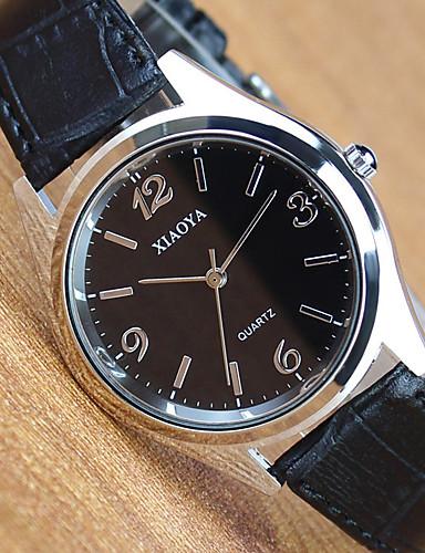 Homens / Mulheres Relógio de Pulso Couro Banda Fashion Preta / Marrom