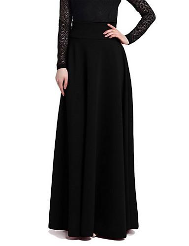 abordables Jupes-Femme Grandes Tailles Sophistiqué Sortie Maxi Balançoire Jupes - Couleur Pleine Style artistique Noir Rouge Vin XXXL XXXXL XXXXXL