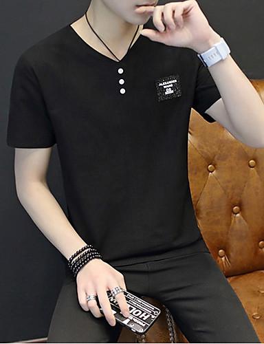 남성 솔리드 V 넥 짧은 소매 티셔츠,심플 캐쥬얼/데일리 면