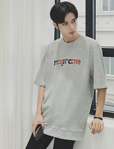 남성 문자 라운드 넥 ½ 길이 소매 티셔츠,심플 캐쥬얼/데일리 면 여름 불투명