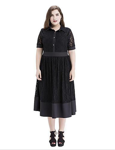 Mulheres Tamanhos Grandes Rendas Vestido - Vazado, Sólido Colarinho de Camisa Médio