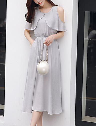 여성용 일상 칼집 미디 드레스,솔리드 라운드 넥 민소매 여름 가을 실크 면