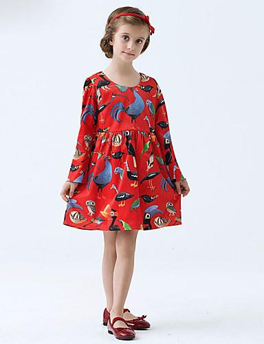 여자의 드레스 데이트 캐쥬얼/데일리 솔리드 플로럴,사계절 면 폴리에스테르 긴 소매
