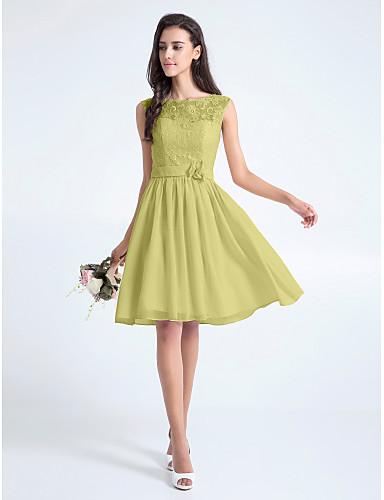 193f84933761 Γραμμή Α Scoop Neck Μέχρι το γόνατο Μπούστο δαντέλα Φόρεμα Παρανύμφων με  Δαντέλα   Ζώνη   Κορδέλα   Λουλούδι με LAN TING BRIDE®