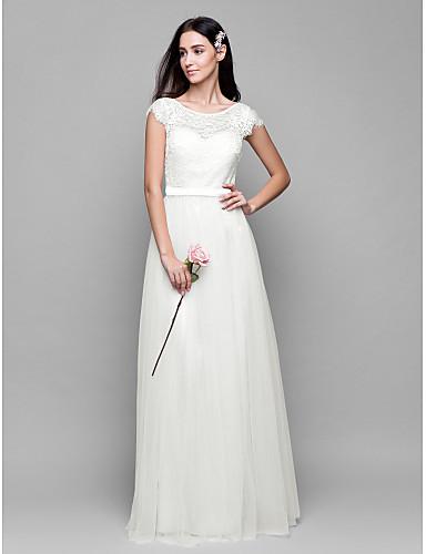 זול שמלות שושבינות ארוכות-גזרת A סקופ צוואר עד הריצפה תחרה מעל טול שמלה לשושבינה  עם תחרה על ידי LAN TING BRIDE®